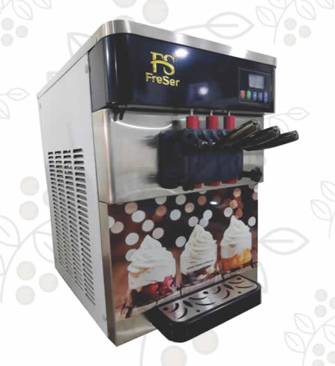 Máquina de Helado blando de 3 sabores de sobremesa