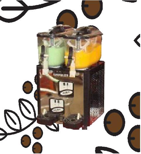 Granizadora de dos tanques de café, frutales, jugos, coctelera